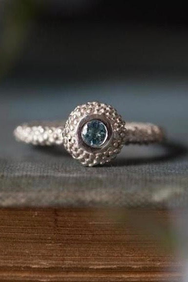 March Aquamarine Bobbled Pollen Stacking Ring