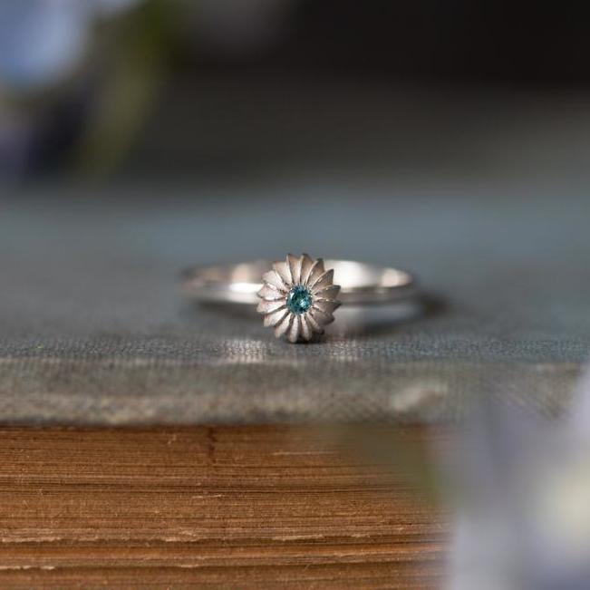 Aquamarine Satsuma Stalk Stacking Ring