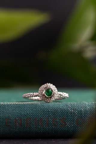 January Tsavorite Green Garnet Bobbled Pollen Stacking Ring