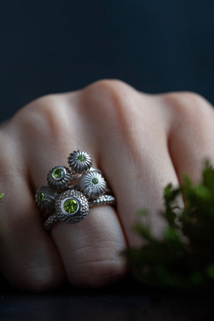 August Peridot Five Pollen Stacking Ring Set