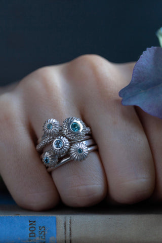 March Aquamarine Five Pollen Stacking Ring Set
