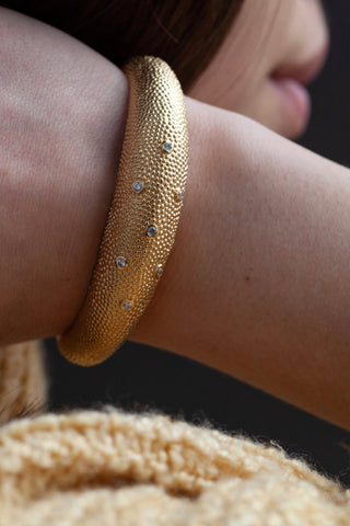 Axolotl Cuff Bangle with Cubic Zirconia