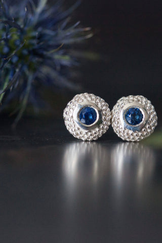 September Sapphire Bobbled Pollen Stud Earrings