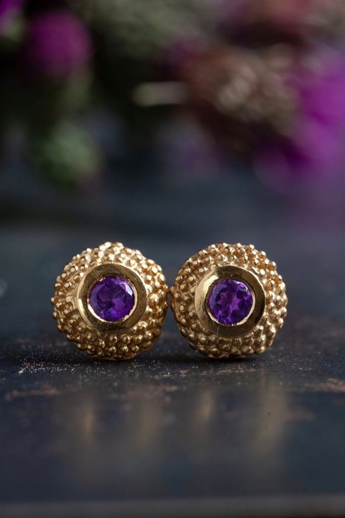 February Amethyst Bobbled Pollen Stud Earrings