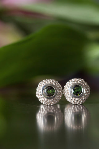 October Green Tourmaline Bobbled Pollen Stud Earrings