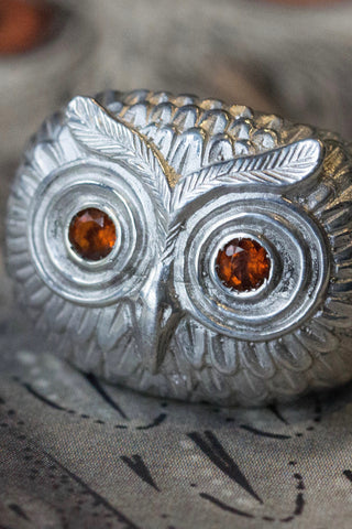 Owl Ring with Madeira Citrines