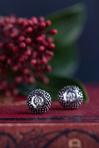 April Cubic Zircona Bobbled Pollen Stud Earrings