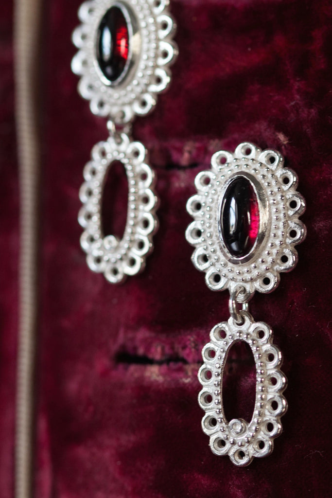 Garnet Baroque Drop Earrings