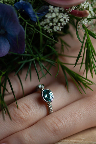 Two Stone Blue Tourmaline Couplet Ring