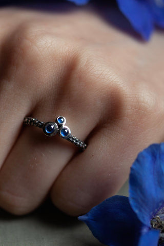 Triple Sapphire Cabochon Cluster Ring