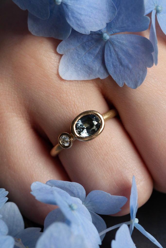 Two Stone Blue Spinel Couplet Ring
