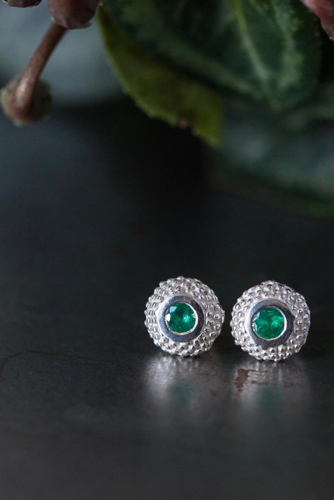 May Emerald Bobbled Pollen Stud Earrings