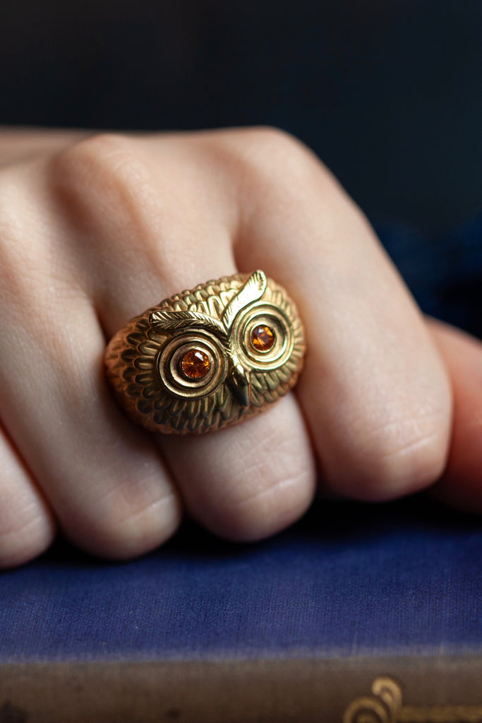Owl Ring with Yellow Sapphires