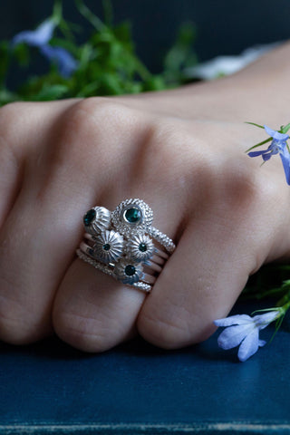 October Blue Tourmaline Five Pollen Stacking Ring Set