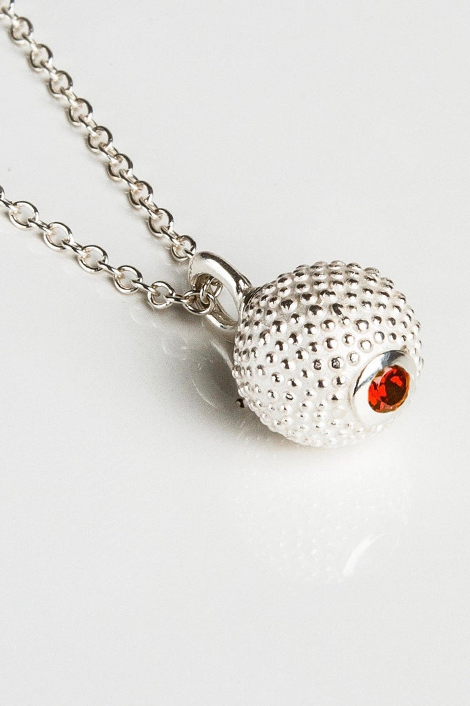 January Red Garnet Birthstone Ball and Chain Pendant Necklace