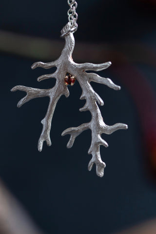 January Red Garnet Branch Birthstone Pendant