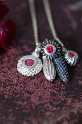 July Ruby Birthstone 5 Pollen Charm Cluster Pendant Necklace