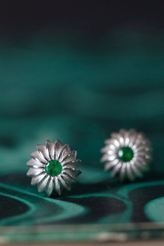 May Emerald Birthstone Satsuma Studs