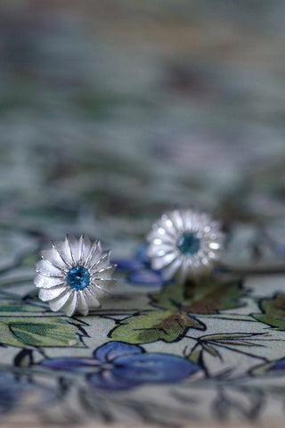 November Swiss Blue Topaz Birthstone Satsuma Studs