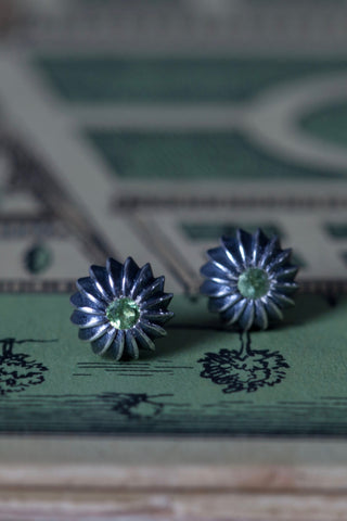 October Green Tourmaline Birthstone Satsuma Studs