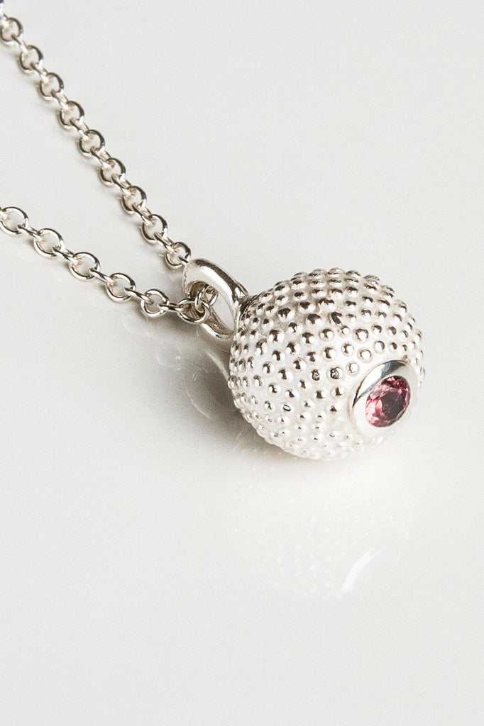 October Pink Tourmaline Birthstone Ball and Chain Pendant Necklace