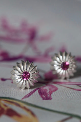 October Pink Tourmaline Birthstone Satsuma Studs