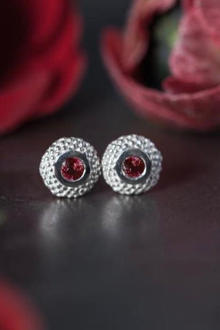July Ruby Bobbled Pollen Stud Earrings