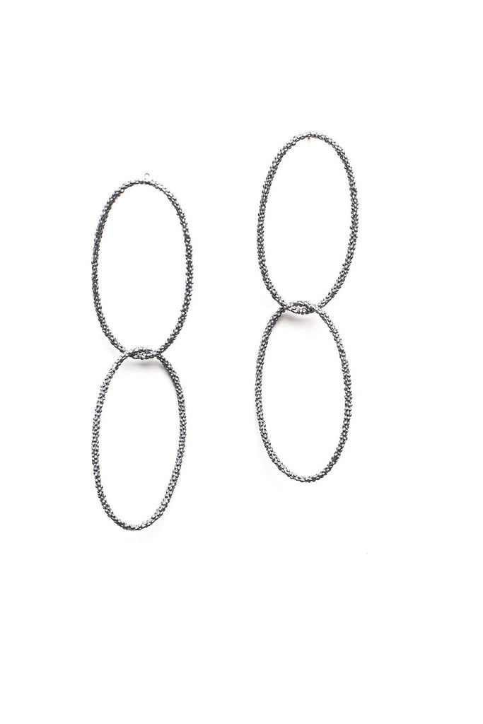 Double Oval Bobbled Hoop Drop Earrings
