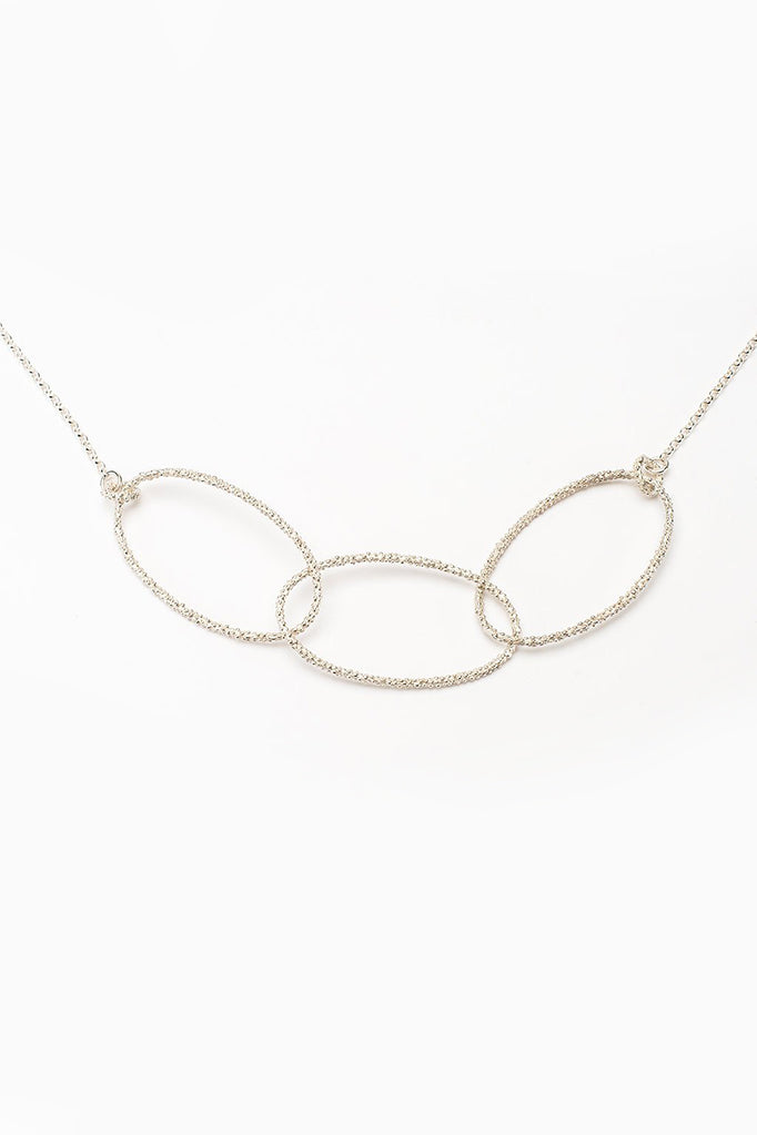 triple oval necklace handmade oval textured necklace silver