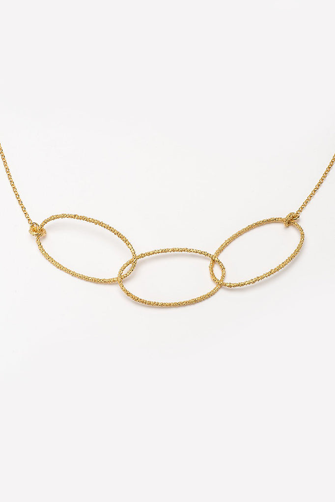 triple oval necklace handmade oval textured necklace gold