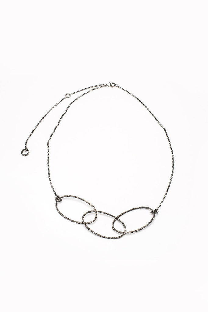 triple oval necklace handmade oval textured necklace oxidised silver