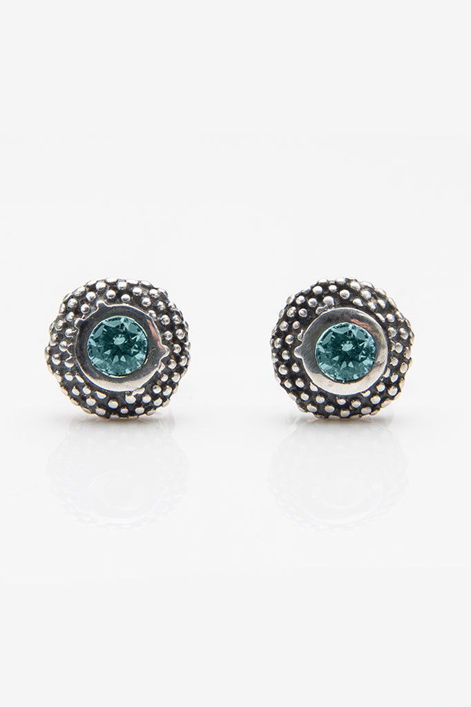 October Blue Tourmaline Bobbled Pollen Stud Earrings