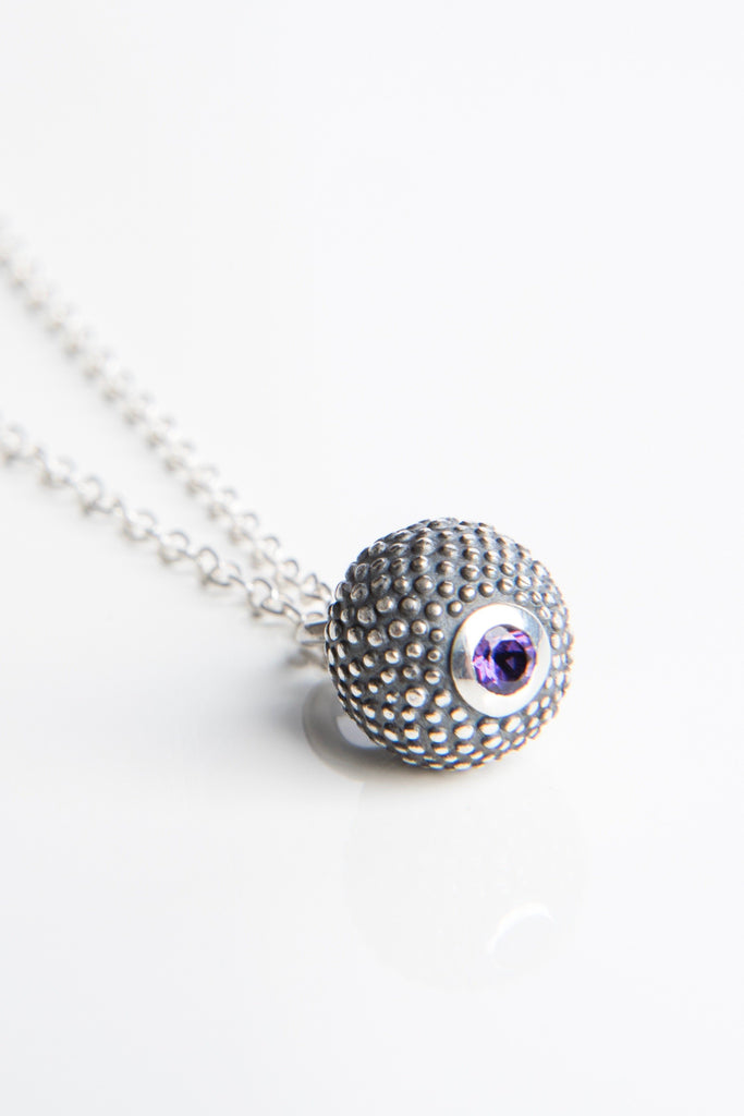 February Amethyst Birthstone Ball and Chain Pendant Necklace