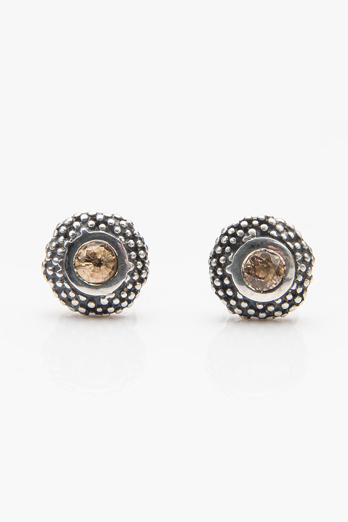 November Yellow Topaz Bobbled Pollen Stud Earrings