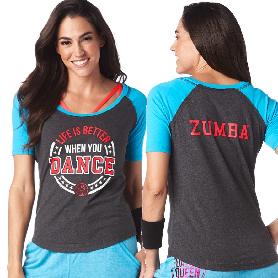 Zumba Life Is Better Baseball Tee (size XS)