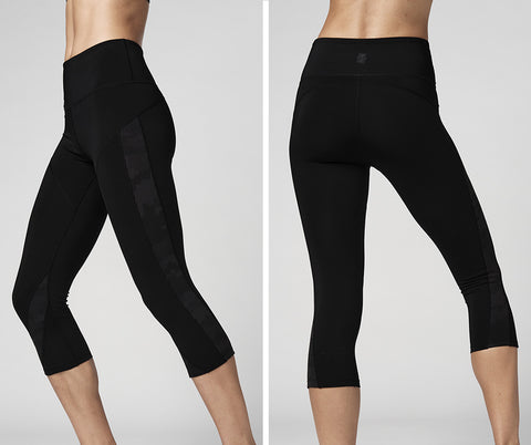 Reflective High Waisted Mesh Capri Leggings (Pre-Order)