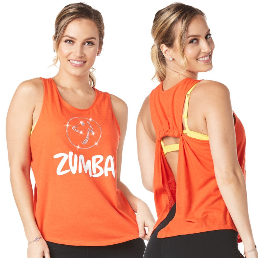 Zumba Open Back Tank with Swarovski Crystals (size L)