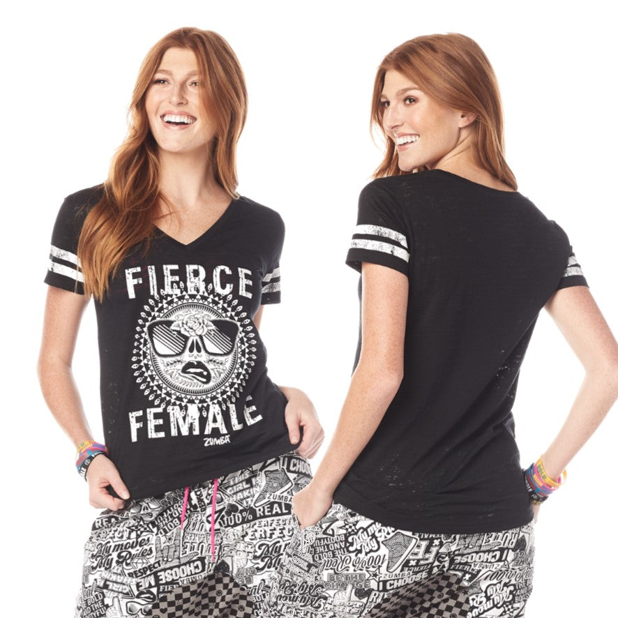 Zumba Fierce Female V Neck Top (sizes XS, S & M)