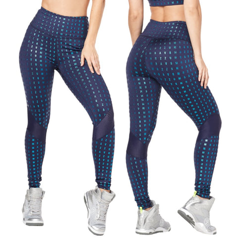 Zumba Glam High Waist Panel Ankle Leggings (size L)