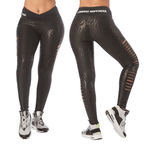 Zumba Happiness Slashed Ankle Leggings (sizes M, L, XL)