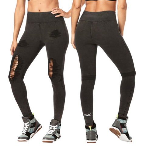 Zumba High Waisted Seamless Ripped Long Leggings (size L)