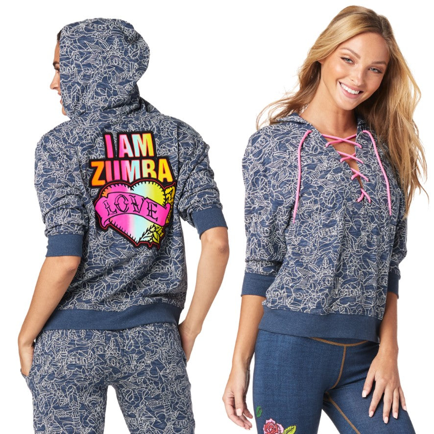 Zumba Love Lace Up Sweatshirt (size M & L)