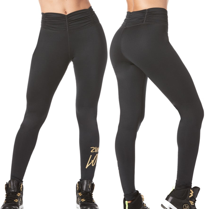 Zumba Love Ruched High Waisted Leggings (size XS, M, L, XL)