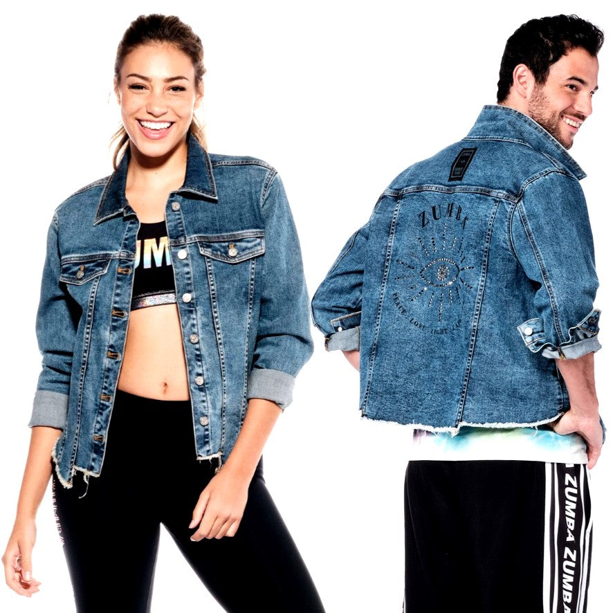 Zumba Peace Denim Jacket With Swarovski Crystals (Pre-Order)