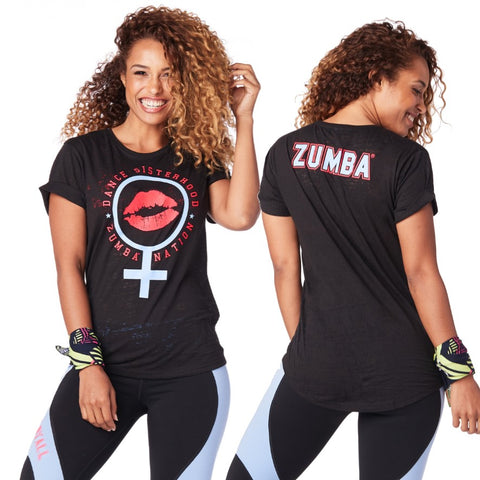 Zumba Sisterhood Crew Neck Top (sizes XS, S, L)