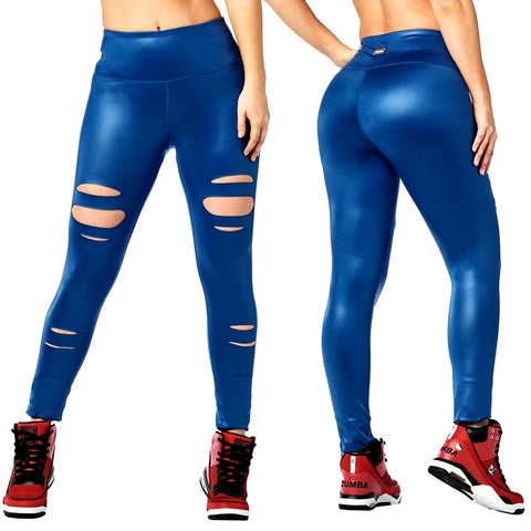 Zumba Slashed High Waisted Long Leggings (size XS, L)