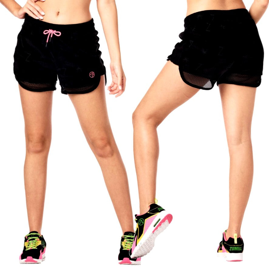 Zumba Surf Mesh Panel Shorts (size XS - only 1 left)