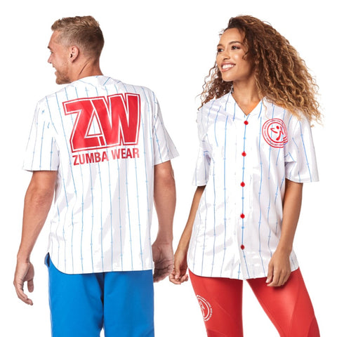 Zumba Varsity Short Sleeve Button Down (sizes L, XL)