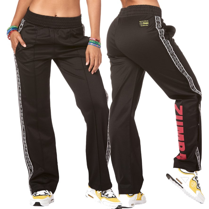 Zumba Varsity Tear Away Track Pants (size XS)