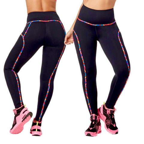 Zumba High Waisted Piped Ankle Leggings
